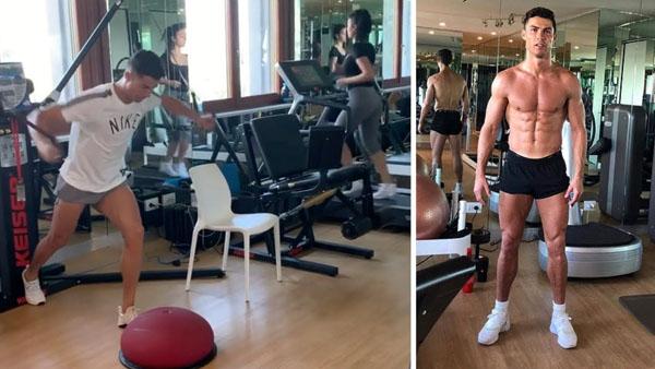CR7 tập gym 3-4 tiếng/ngày ngay ở nhà để không mất khối cơ bắp khi tự cách ly - 3