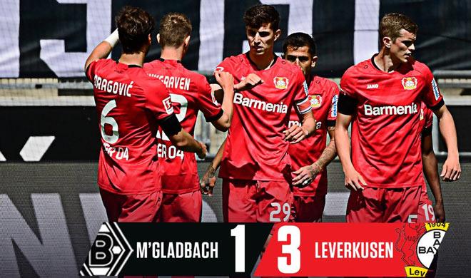 Video highlight trận M'gladbach - Leverkusen: Thần đồng lập cú đúp, chen chân top 3 - 2