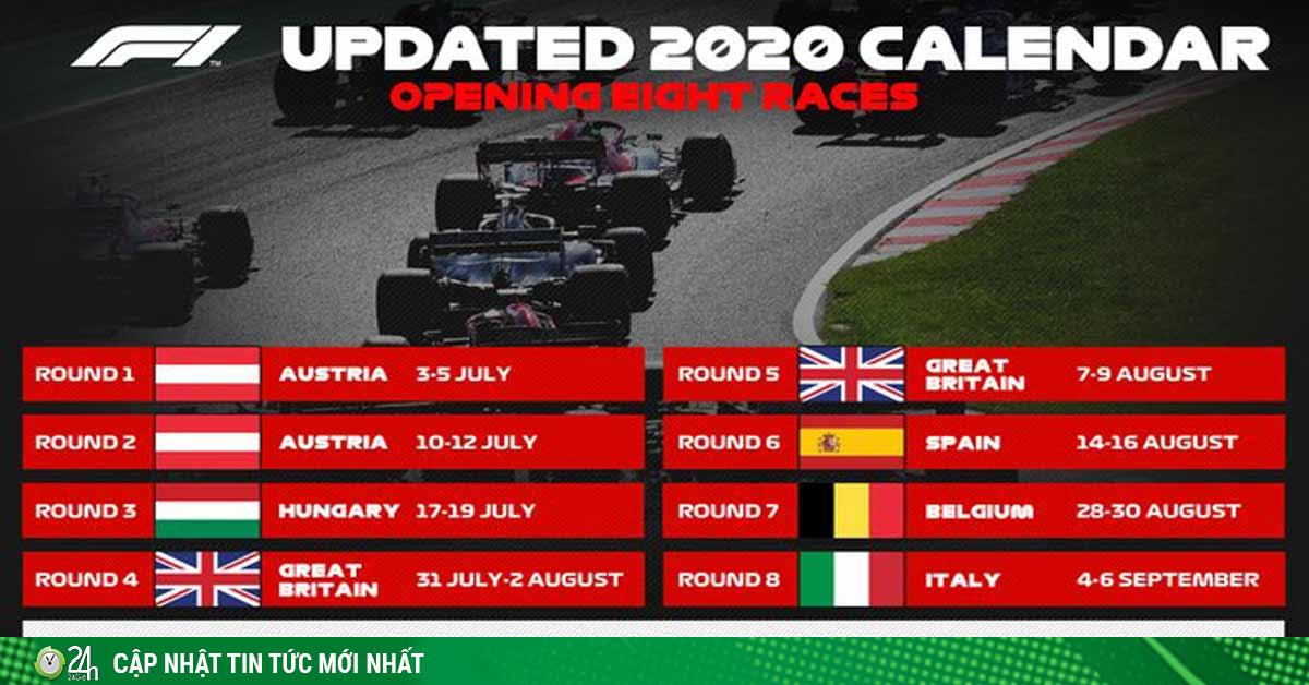 F1 công bố lịch mới mùa giải 2020: Việt Nam GP bao giờ diễn ra?