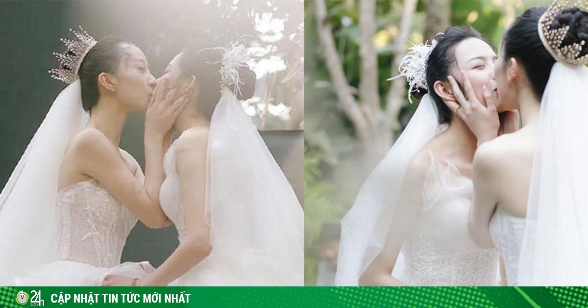 Cặp đôi đồng tính nữ nổi tiếng xứ Trung khóa môi ngọt ngào trong đám cưới cổ tích