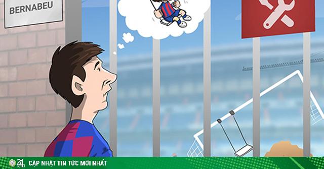 Ảnh chế: Messi tiếc nuối khi không được vui chơi trên sân tập Bernabeu