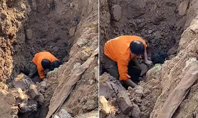 """Vụ """"người đàn ông dưới lòng đất"""": Nhân chứng kể lại giây phút nạn nhân bị đất vùi kín - hình ảnh 1"""