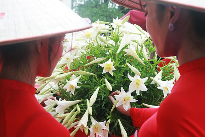 """Xuất hiện nón lá """"khổng lồ"""" bằng hoa loa kèntrên phố Hà Nội - hình ảnh 11"""