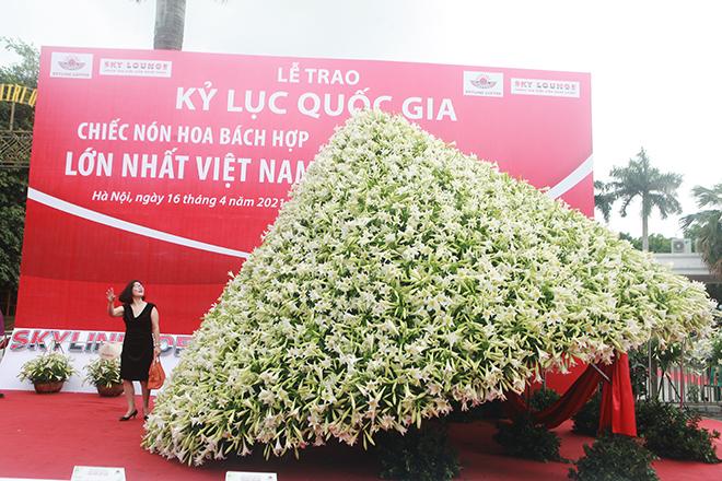 """Xuất hiện nón lá """"khổng lồ"""" bằng hoa loa kèntrên phố Hà Nội - hình ảnh 2"""