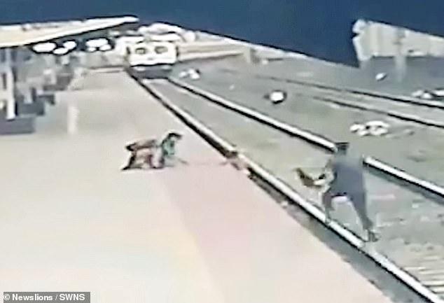 Video: Nghẹt thở cảnh cứu em bé rơi xuống đường ray khi đoàn tàu lao đến - hình ảnh 1