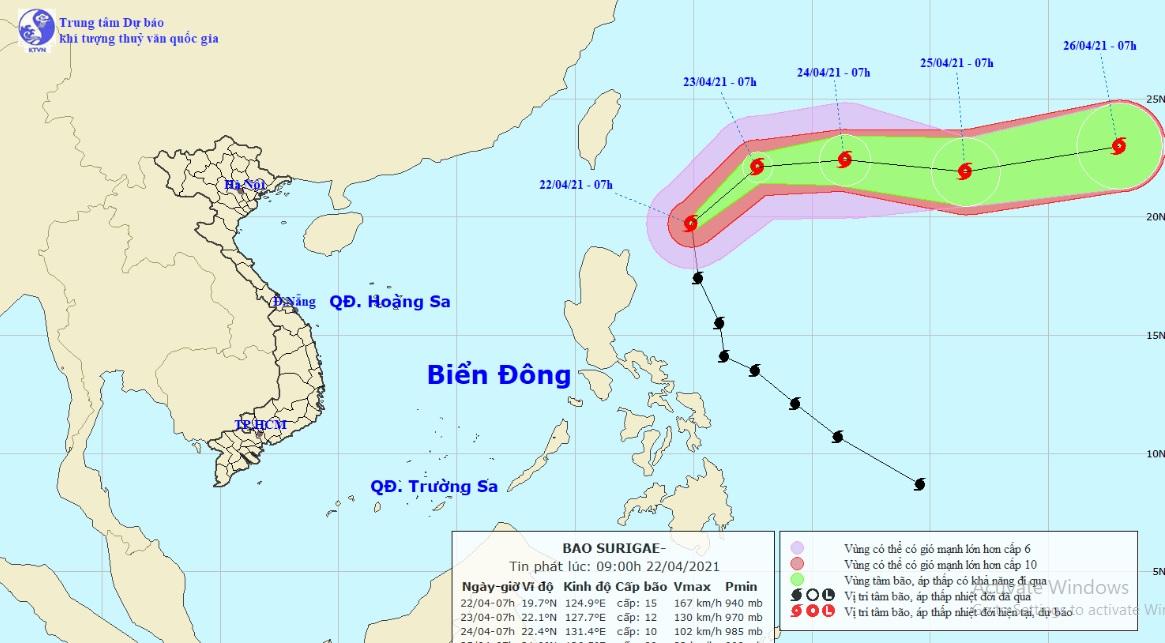 Siêu bão Surigae bất ngờ đổi hướng, di chuyển với vận tốc nhanh hơn - hình ảnh 1