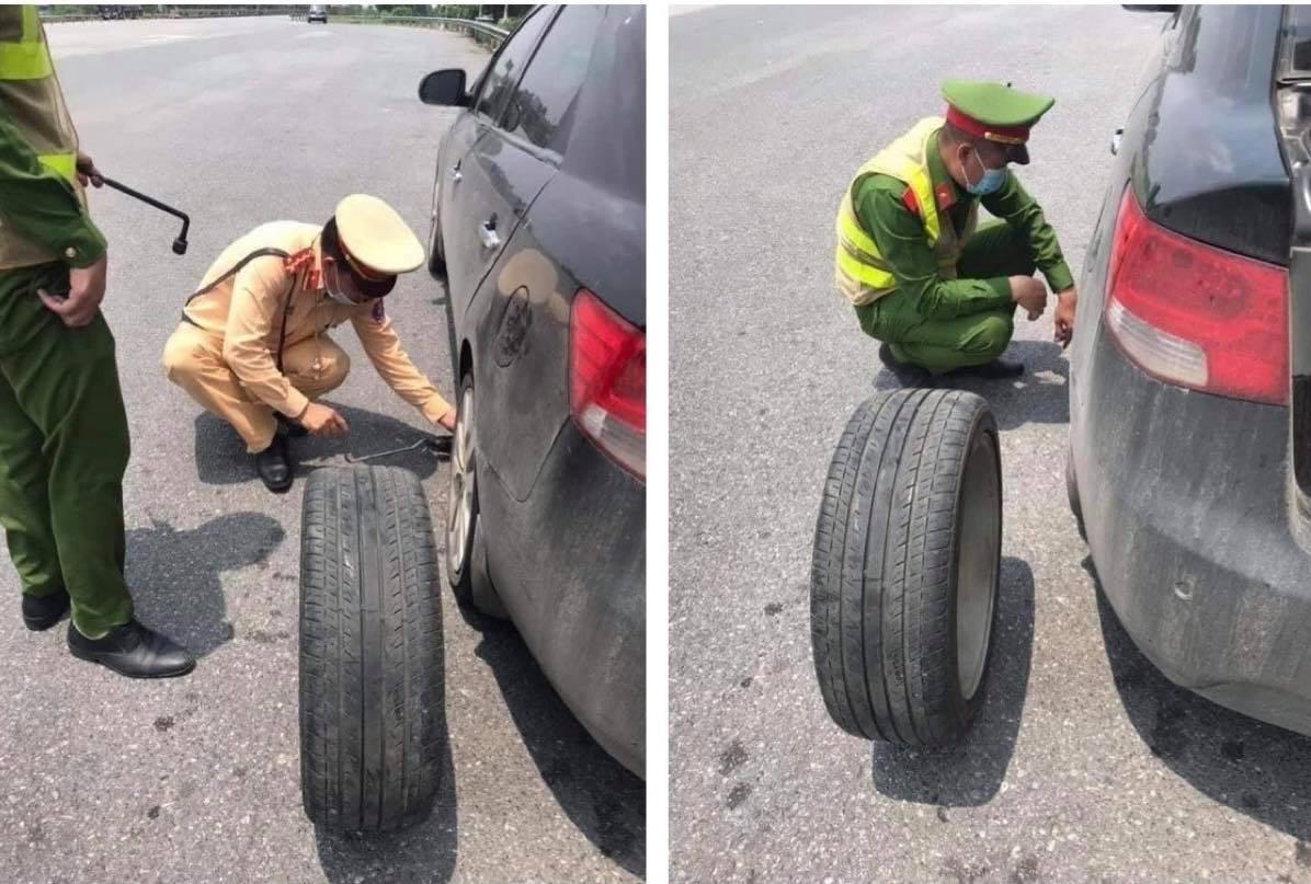 Ô tô bị xẹp lốp trên cao tốc và hành động cực đẹp của CSGT - hình ảnh 1