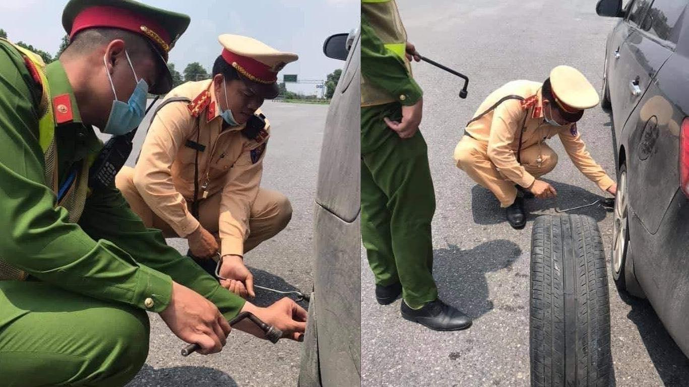 Ô tô bị xẹp lốp trên cao tốc và hành động cực đẹp của CSGT - hình ảnh 2