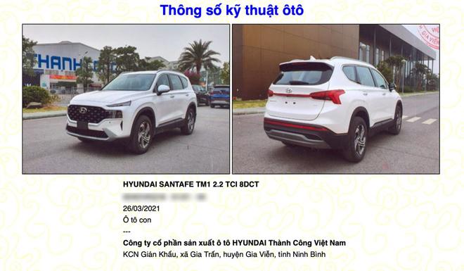 Hyundai Santa Fe 2021 được đăng ký thông tin trên Cục đăng kiểm Việt Nam - 1