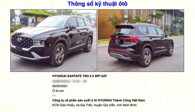 Hyundai Santa Fe 2021 được đăng ký thông tin trên Cục đăng kiểm Việt Nam - 3