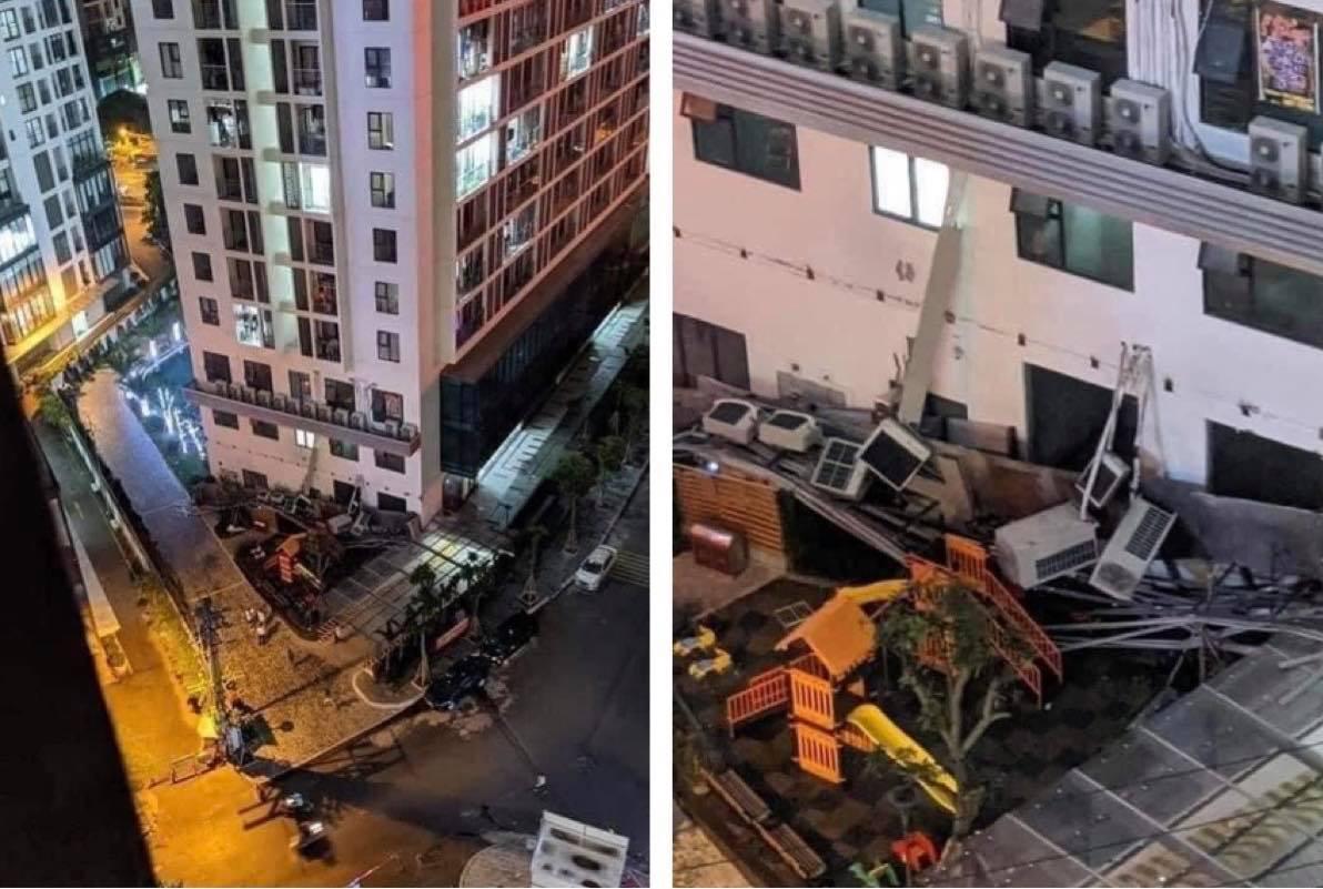 """Hà Nội: Giàn nóng điều hoà """"khổng lồ"""" đổ sập xuống sân chơi trẻ em ở chung cư - hình ảnh 1"""