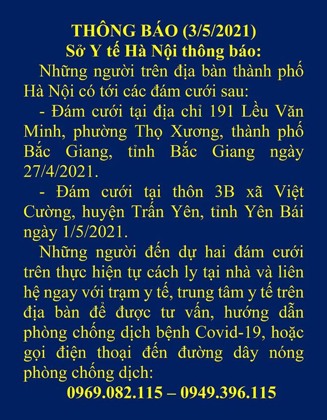 Hà Nội ra thông báo khẩn tìm người đi đám cưới ở Bắc Giang, Yên Bái - hình ảnh 1