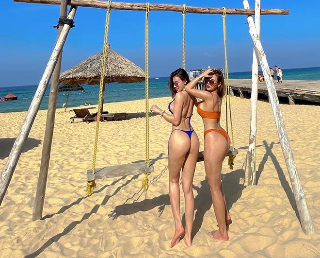 """""""Hot girl phòng Gym"""" Huyền Dior, Quỳnh Nguyễn vòng ba 100 cm đọ dáng ở bể bơi - 5"""