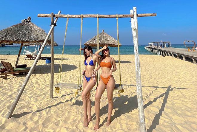 """""""Hot girl phòng Gym"""" Huyền Dior, Quỳnh Nguyễn vòng ba 100 cm đọ dáng ở bể bơi - 6"""