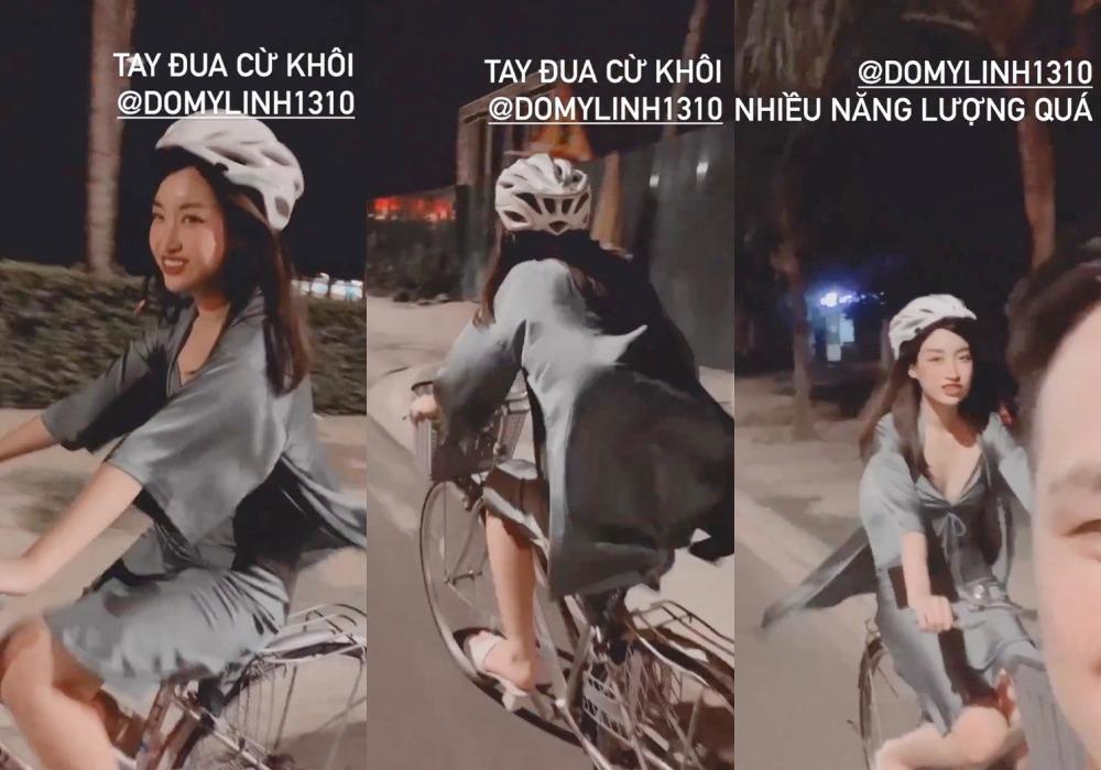 Mặc gợi cảm đi xe đạp: Hoàng Thùy Linh diện váy ren, Quỳnh Nga chơi hẳn bikini - hình ảnh 6