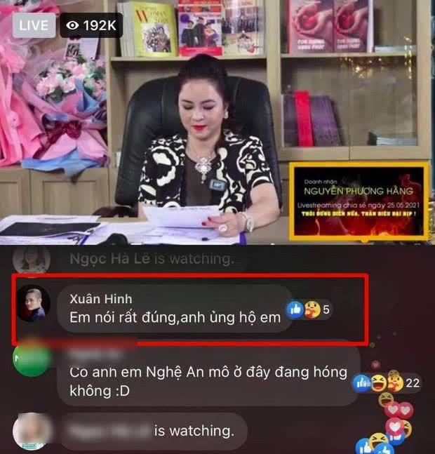 """Thực hư việc """"vua hài đất Bắc"""" Xuân Hình bình luận ủng hộ livestream của bà Phương Hằng - hình ảnh 1"""