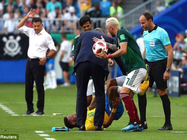 Trò hề World Cup: Neymar kịch sỹ quá lố gài bẫy thẻ đỏ SAO Mexico