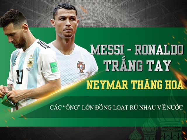 """Messi – Ronaldo trắng tay - Neymar thăng hoa - Các """"ông lớn"""" đồng loạt rủ nhau về nước."""