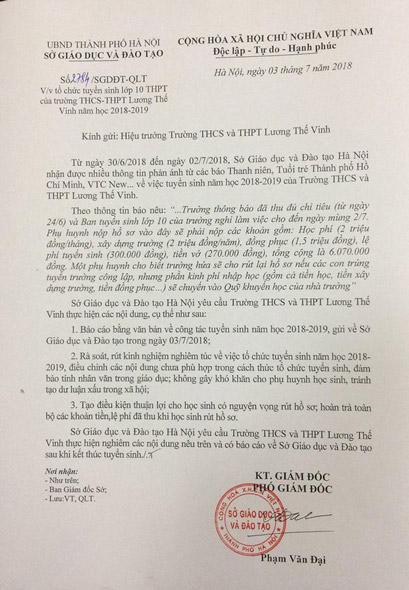 """Trường Lương Thế Vinh bị """"tuýt còi"""" về tuyển sinh lớp 10 - 1"""