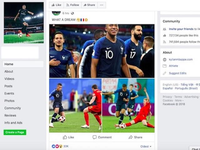 Dân mạng Việt Nam truy lùng, thóa mạ Mbappe của tuyển Pháp trên Facebook