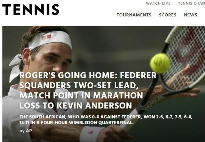 """Địa chấn Wimbledon, Federer thua ngược: Báo chí sốc, vinh danh """"người khổng lồ"""" - 1"""