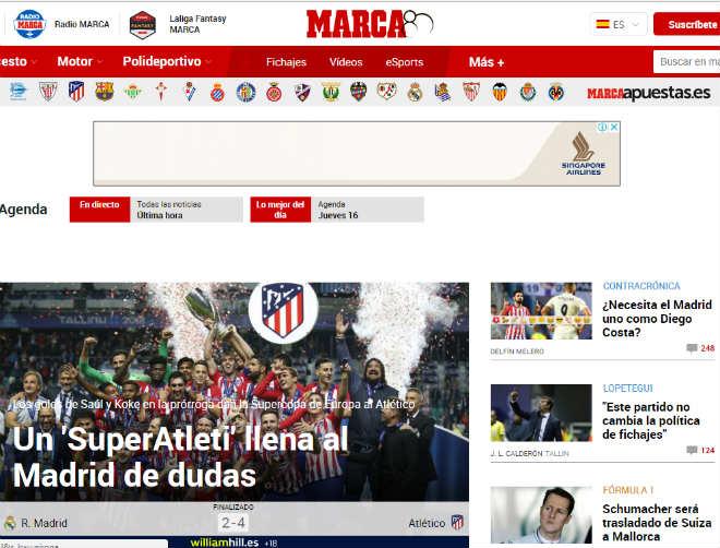 Atletico đoạt Siêu cúp: Báo thế giới xoáy sâu nỗi đau Real mất Ronaldo - 1