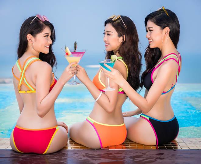 Top 3 Hoa hậu Việt Nam 2016 tung ảnh bikini nóng rực ở hồ bơi dát vàng - hình ảnh 2