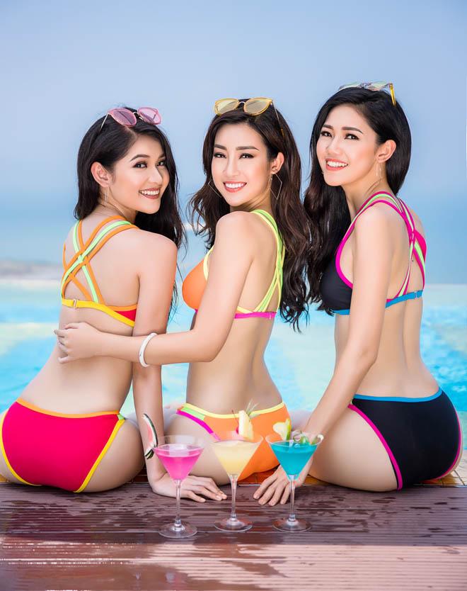 Top 3 Hoa hậu Việt Nam 2016 tung ảnh bikini nóng rực ở hồ bơi dát vàng - hình ảnh 1