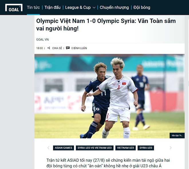Tờ Goal phiên bản tiếng Việt giật hàng tít: Olympic Việt Nam 1-0 Olympic Syria: Văn Toàn sắm vai người hùng!