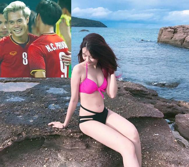 """Mặc áo tắm, bạn gái Văn Toàn, Văn Thanh, Duy Mạnh """"hot"""" 100% - hình ảnh 1"""