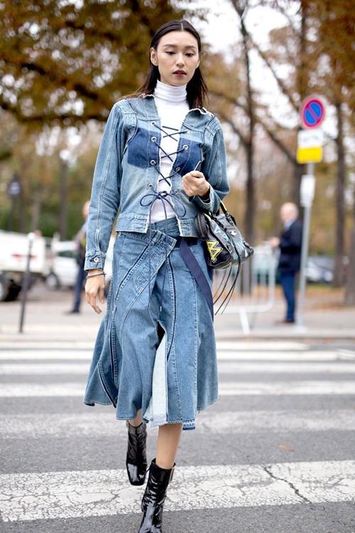 Học mỹ nhân thế giới mặc denim cả bộ đẹp nghẹn lời - hình ảnh 9