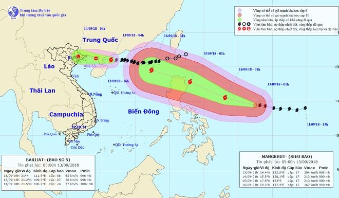 """Bão số 5 áp sát Móng Cái, Biển Đông """"nín thở"""" chờ siêu bão MANGKHUT - 1"""