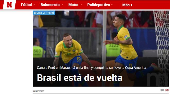 Brazil vô địch Copa America: Báo chí thế giới ngả mũ kỳ tích không cần Neymar - 4
