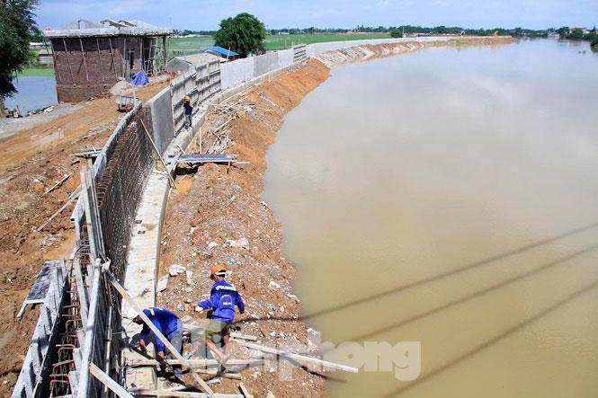 Cận cảnh đê bê tông đang gấp rút hoàn thành để ngăn lụt cho Hà Nội - 11