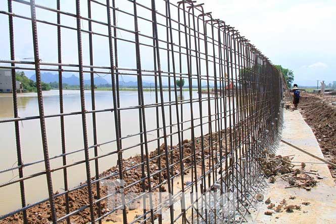 Cận cảnh đê bê tông đang gấp rút hoàn thành để ngăn lụt cho Hà Nội - 4