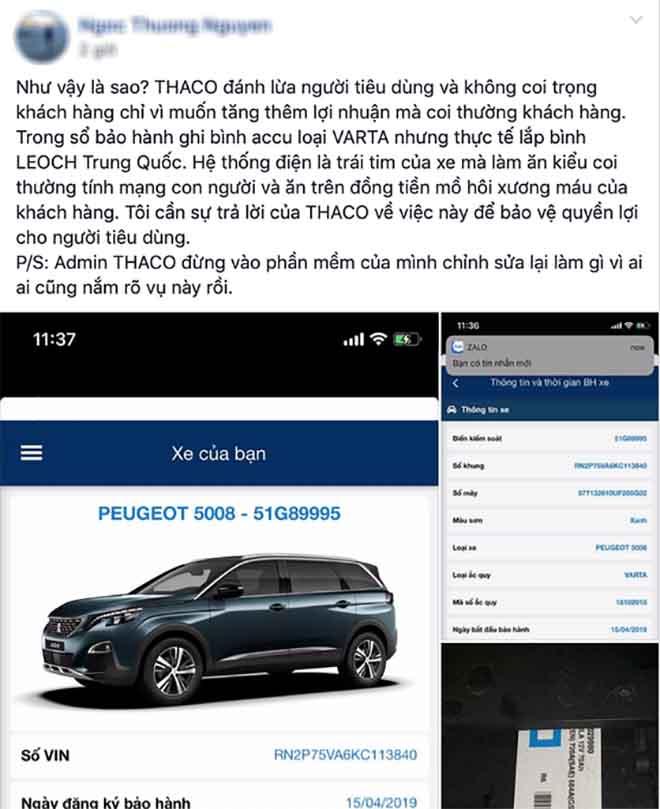 Khách hàng nói Peugeot Việt Nam gắn sai ắc-quy như công bố trên App, Thaco trả lời như thế nào? - 1
