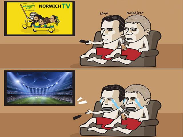 """Ảnh chế: Cúp C1 trở lại, MU và Arsenal ngồi nhà """"khóc ròng"""""""