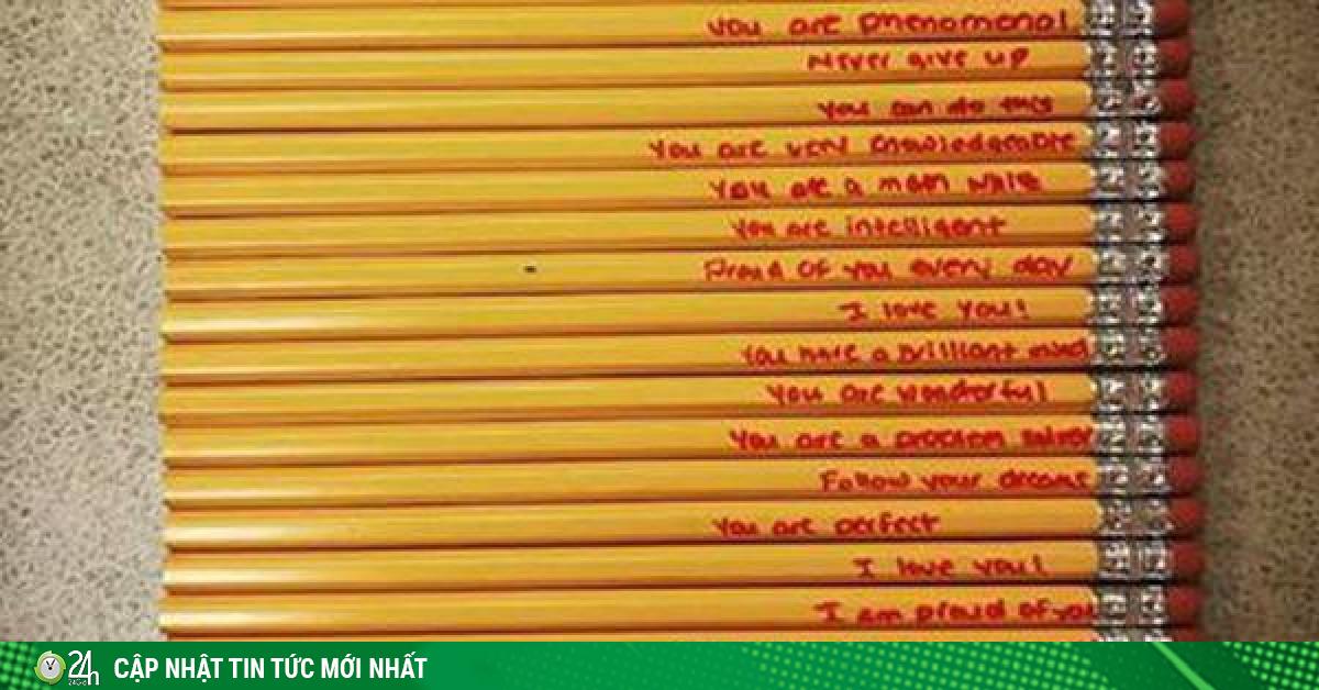 Mẹ viết những lời đặc biệt lên cây bút chì để khích lệ con trai làm trái tim cô giáo tan chảy