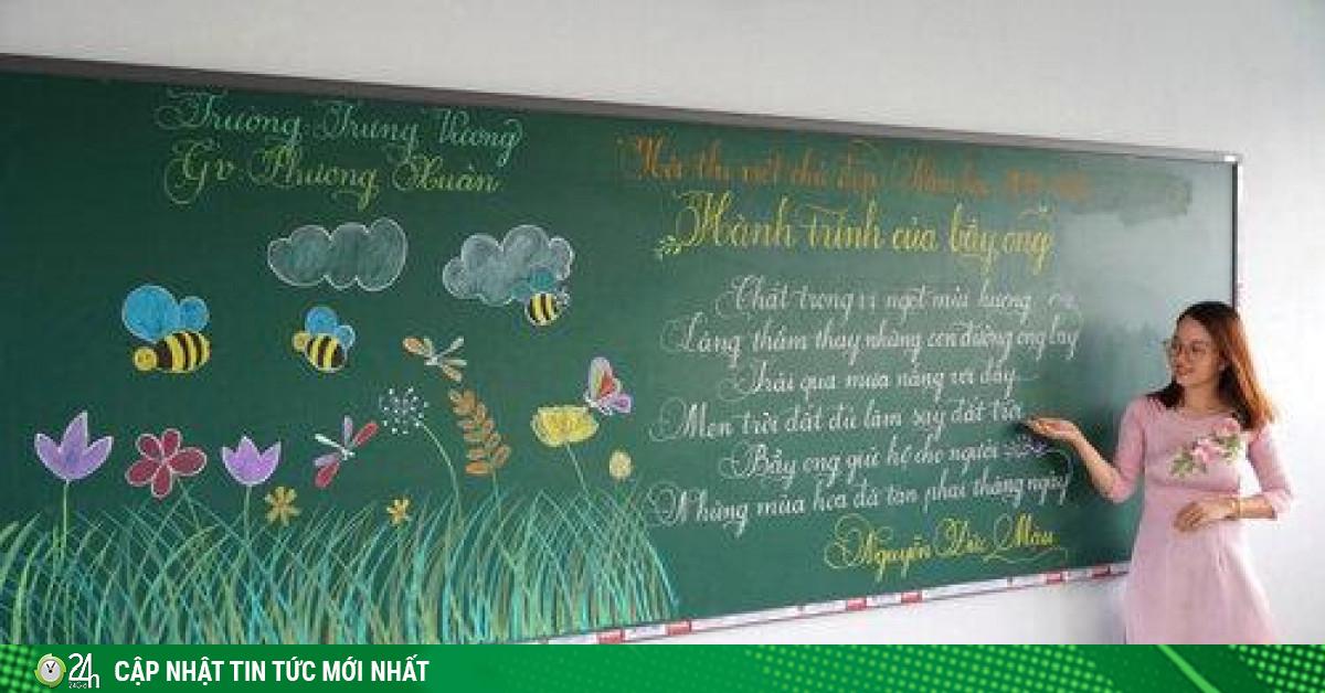 Cô giáo Quảng Trị viết chữ đẹp như vẽ tranh gây sốt mạng xã hội