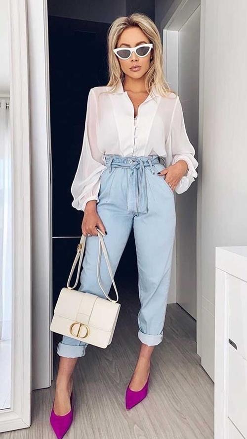 Quần jeans ống loe, màu ngà voi sẽ là xu hướng quần jeans lớn nhất mùa thu 2020 - 5