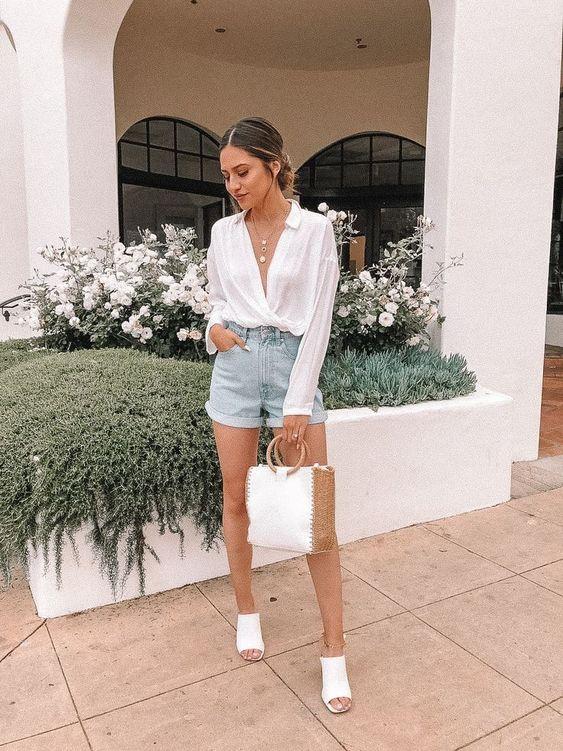6 cách cô gái Pháp đang mặc quần denim short cổ điển trong mùa hè này - 1