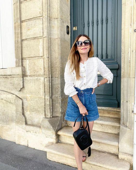 6 cách cô gái Pháp đang mặc quần denim short cổ điển trong mùa hè này - 3