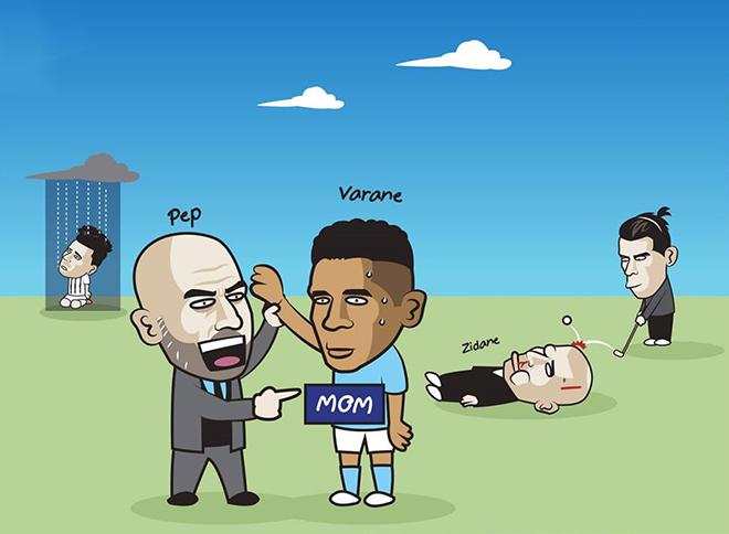 """Ảnh chế: Man City chiêu mộ Varane sau khi """"đá văng"""" Real khỏi cúp C1 - 2"""