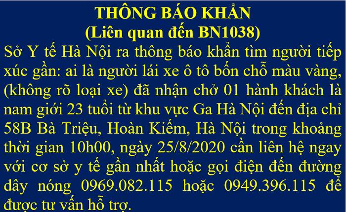 Khẩn: Tìm lái xe chở nam thanh niên ở Hoàn Kiếm dương tính với SARS-CoV-2 - 2
