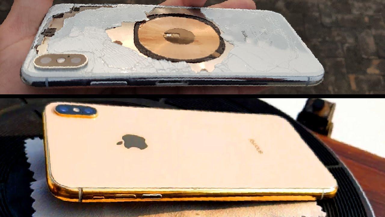 """""""Hô biến"""" iPhone XS Max vỡ nát phần lưng thành mới hoàn toàn với vàng 24K - 1"""