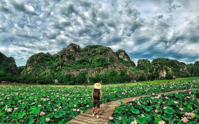 """Ngỡ ngàng hồ sen nở rộ giữa Thu ở Hang Múa (Ninh Bình), giới trẻ tha hồ chụp ảnh """"sống ảo"""" - 8"""