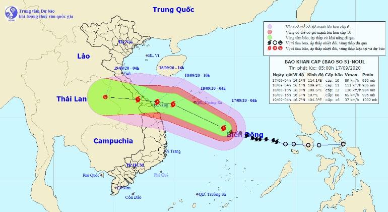 Diễn biến mới của bão số 5 giật cấp 12-13 đang hướng vào đất liền - 1