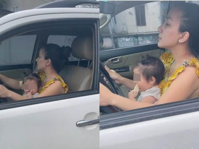 Vợ Lê Dương Bảo Lâm bị chỉ trích vì để con nhỏ ngồi ghế lái ô tô - 1