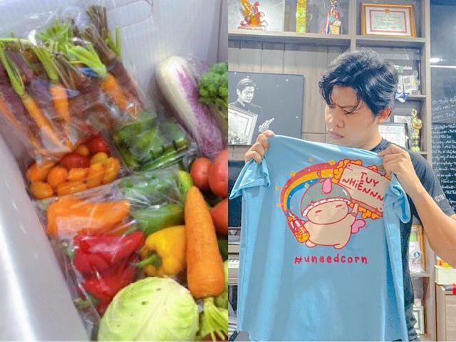 """Đời sống Showbiz - Ngã ngửa với những món tiếp tế """"độc lạ"""" sao Việt nhận được khi giãn cách xã hội"""