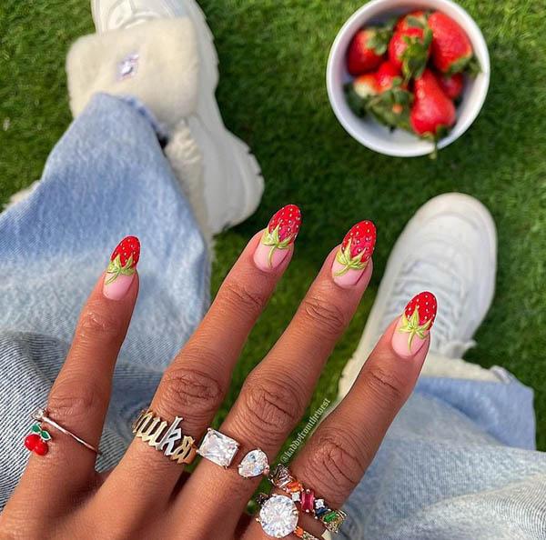 Hàng loạt mẫu nail dâu tây mới lạ cho nàng thêm xinh đẹp - 6